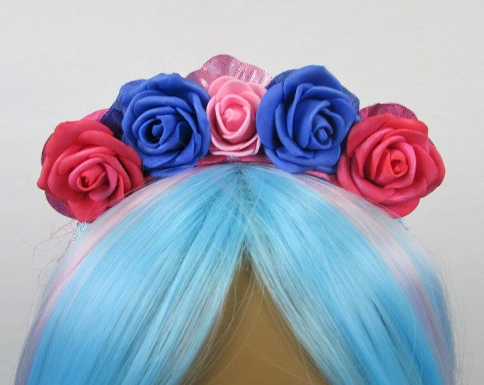 Pink & Blue Rose Crown, Valentines Flower Crown, Rose Headdress, Floral Headpiece, Floral Crown, Flower Girl Headband, All Ages, Kids Crown