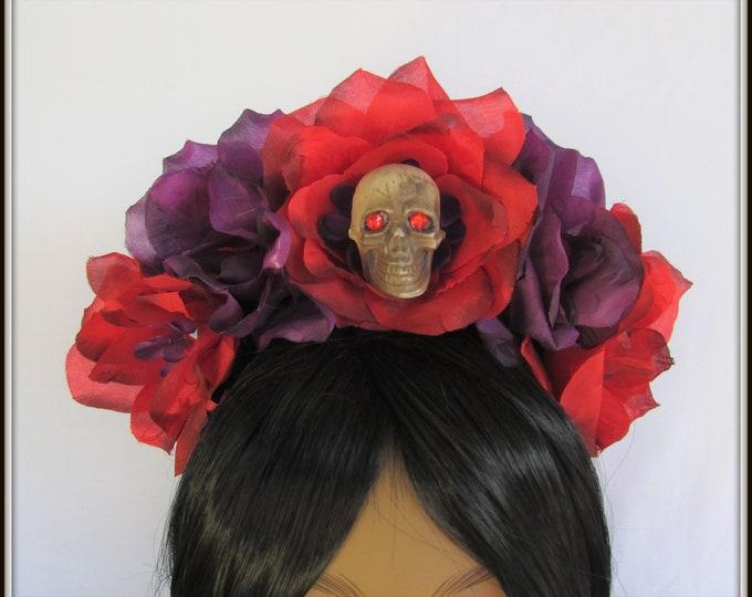 Rose Skull Crown, Day of the Dead Headpiece, Day of the Dead Headband, Día de los Muertos Headdress, Sugar Skull Headpiece, Flower Crown