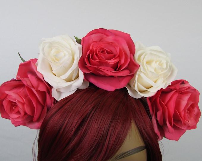 Pink & Ivory Rose Crown, Valentines Flower Crown, Rose Headdress, Floral Headpiece, Floral Crown, Frida Headpiece, Wedding, Bridal, Boho