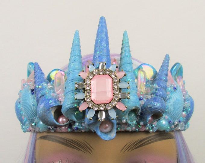 Blue & Pink Mermaid Crown, Mermaid Headband, Mermaid Headdress, Shell Crown, Mermaid Costume, Seashell Tiara, Crystal Crown, Beach Wedding
