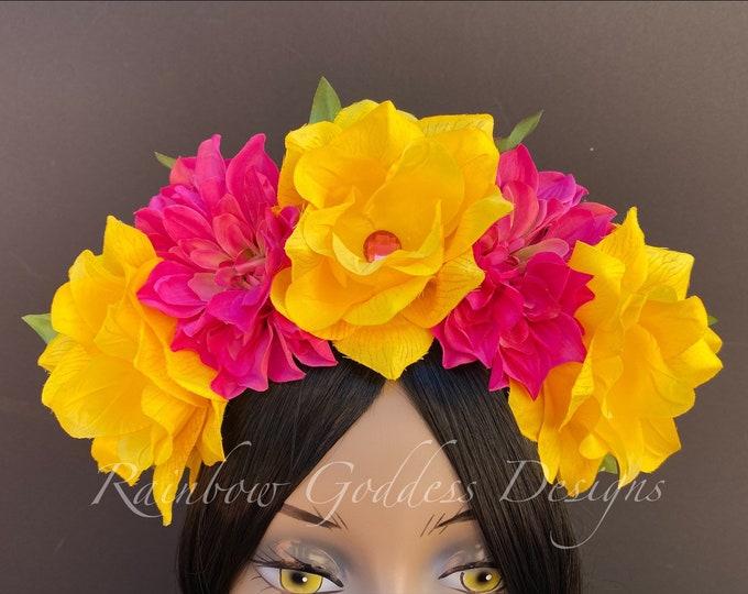 Pink & Yellow Flower Crown, Flower Headband, Floral Headpiece, Frida Kahlo Floral Crown, Day of the Dead, Wedding, Dia de Los Muertos