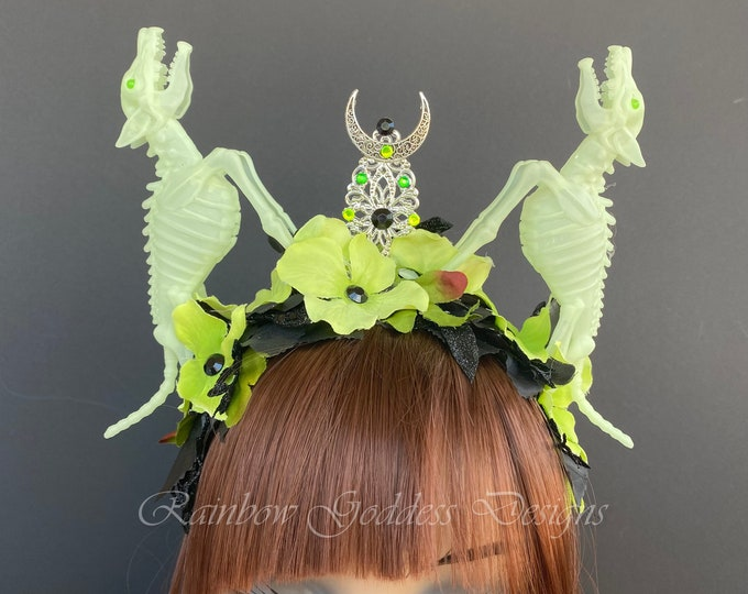 Glow In The Dark Headband, Skeleton Headband, Moon Crown, Wolf Crown, Flower Headband, Halloween Headband, Gothic Crown, Filigree Crown