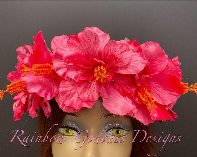 Pink Hibiscus Flower Crown, Tropical Headdress, Hawaiian Flower Crown, Dia de los Muertos, Day of the Dead, Tiki Oasis, Tiki Wedding