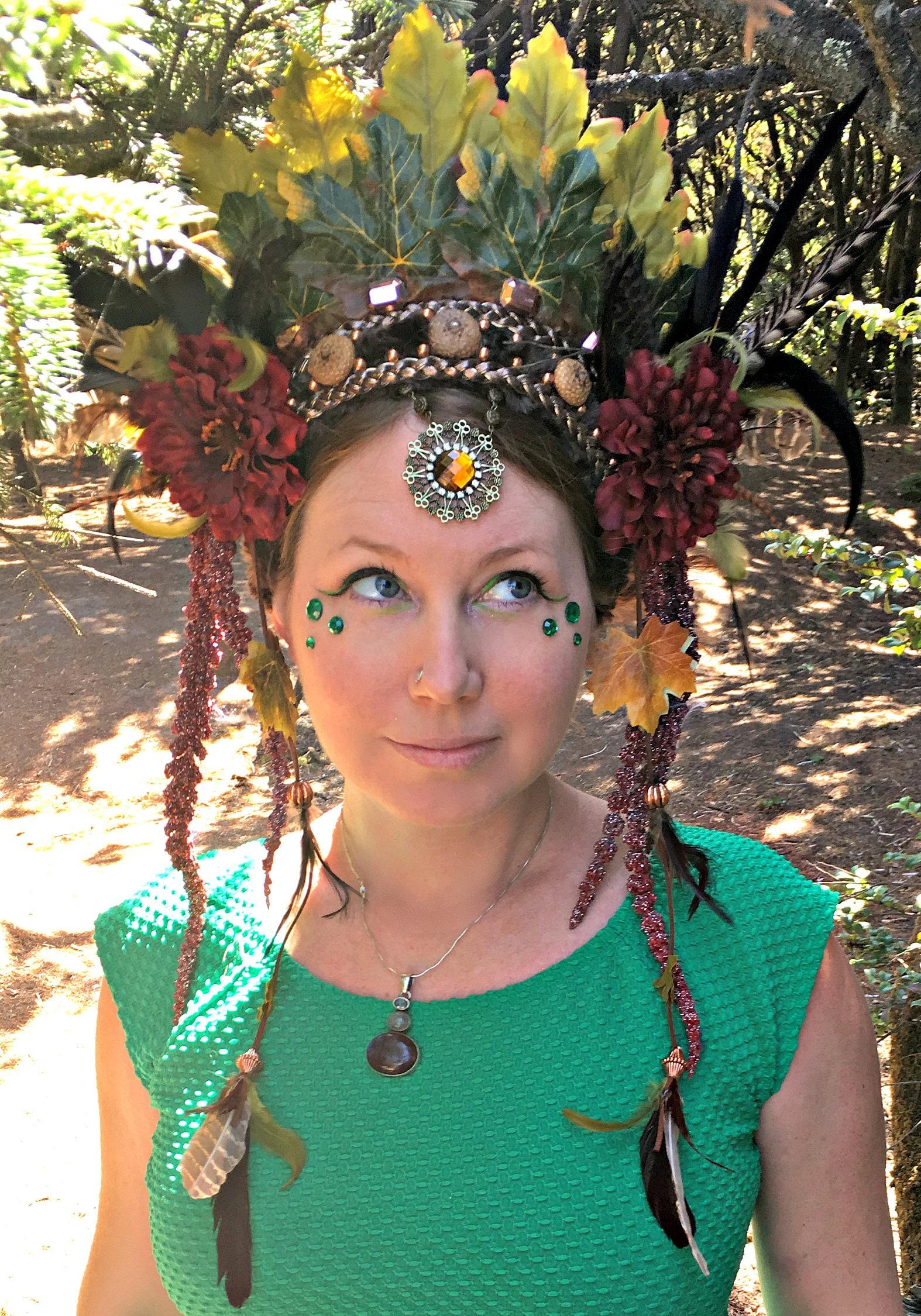 Forest Goddess Headdress, Feather Headdress, Flower ...
