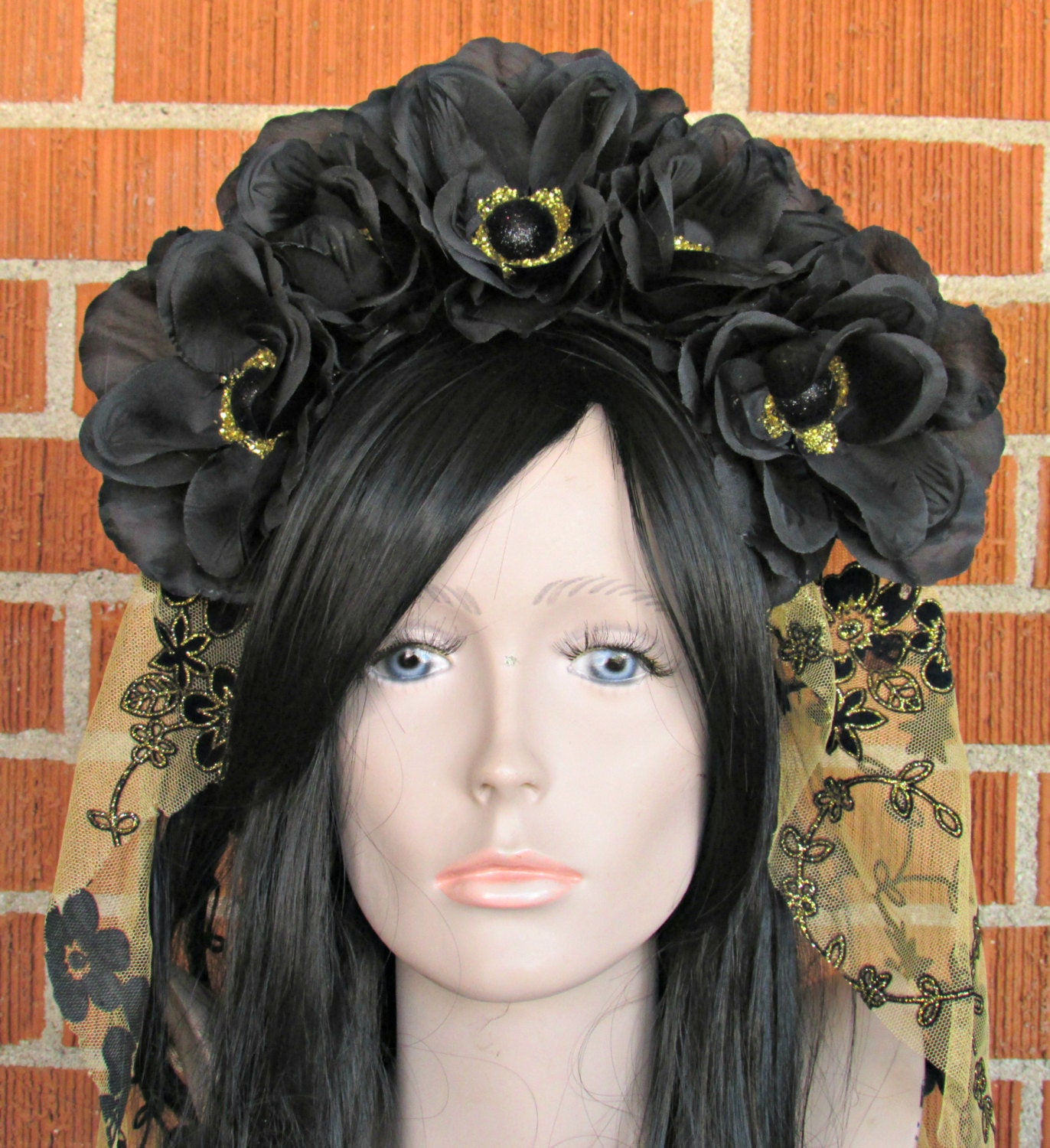 Flower crown black and gold rose crown day of the dead flower gallery photo gallery photo izmirmasajfo