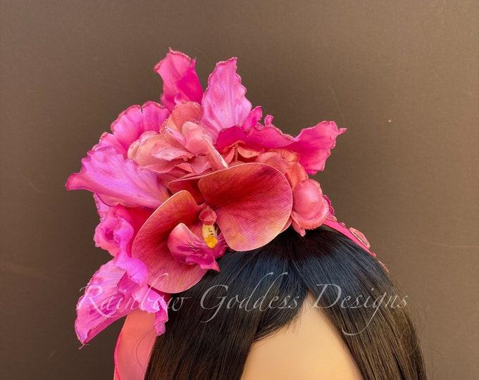 Pink Flower Headband, Pink Flower Crown, Fairy Crown, Floral Crown, Goddess Headpiece, Wedding, Tropical Headpiece