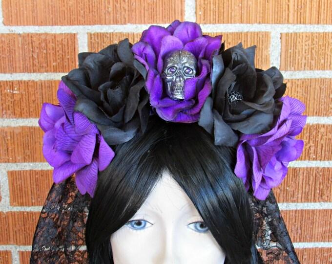 Rose Skull Crowns, Day of the Dead Flower Crown, Día de los Muertos Headdress, Veiled Headdress, Skull Headband, Rose Crown