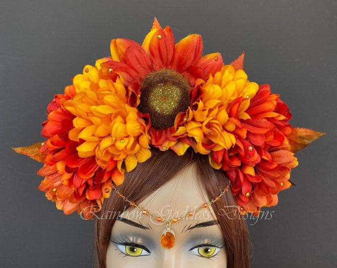 Orange Sunflower Crown, Fall Flower Crown, Autumn Crown, Floral Headpiece, Floral Headband, Wedding Crown, Fairy Wreath, Harvest Crown