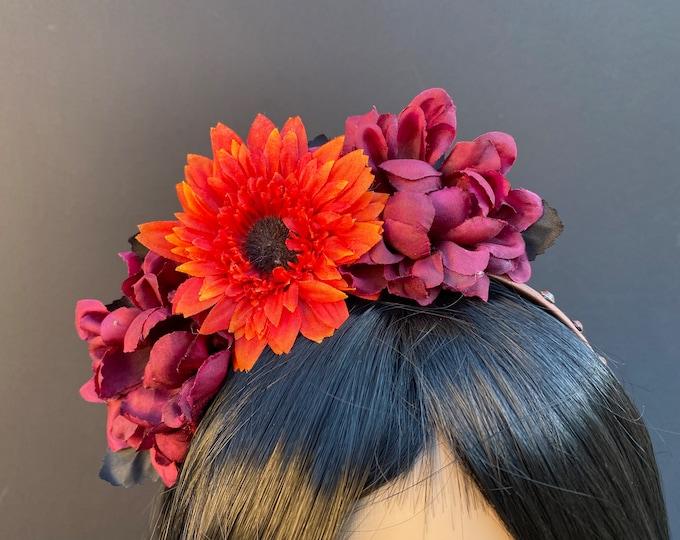 Burgundy & Orange Flower Headband, Flower Crown, Floral Crown, Floral Headpiece, Fall Headband, Kids Headband, Kids Halloween