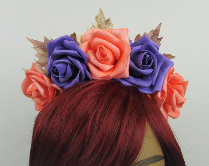 Peach & Purple Rose Crown, Catrina Flower Crown, Rose Headdress, Floral Headpiece, Floral Crown, Frida Headpiece, Flower Halo, All Ages