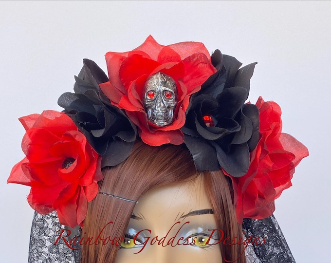 Red Flower Crown, Floral Headpiece, Rose Headband, Floral Crown, Flower Crown Headband, Flower Headband, Day of the Dead, Halloween