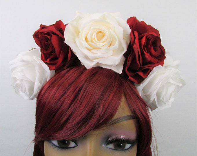 Rose Crown, Valentines Flower Crown, Rose Headdress, Floral Headpiece, Floral Crown, Frida Headpiece, Wedding, Bridal, Boho