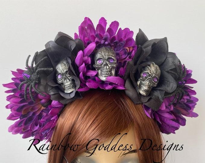 Rose Skull Crowns, Day of the Dead Flower Crown, Día de los Muertos Headdress, Veiled Headdress, Spider Headband, Purple & Black Rose Crown