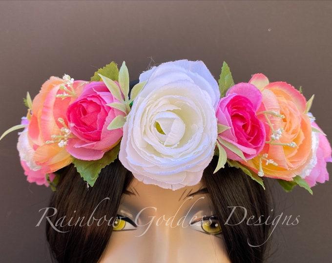 Spring Flower Crown, Floral Crown, Fairy Crown, Floral Headpiece, Flower Girl Headpiece, Festival Crown, Bridesmaid Crown