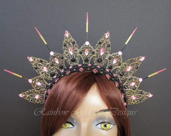Pink Gothic Crown, Metal Crown, Gothic Tiara, Filigree Crown, Antique Bronze Crown, Jeweled Queen Crown, Filigree Headband, Halo Headpiece
