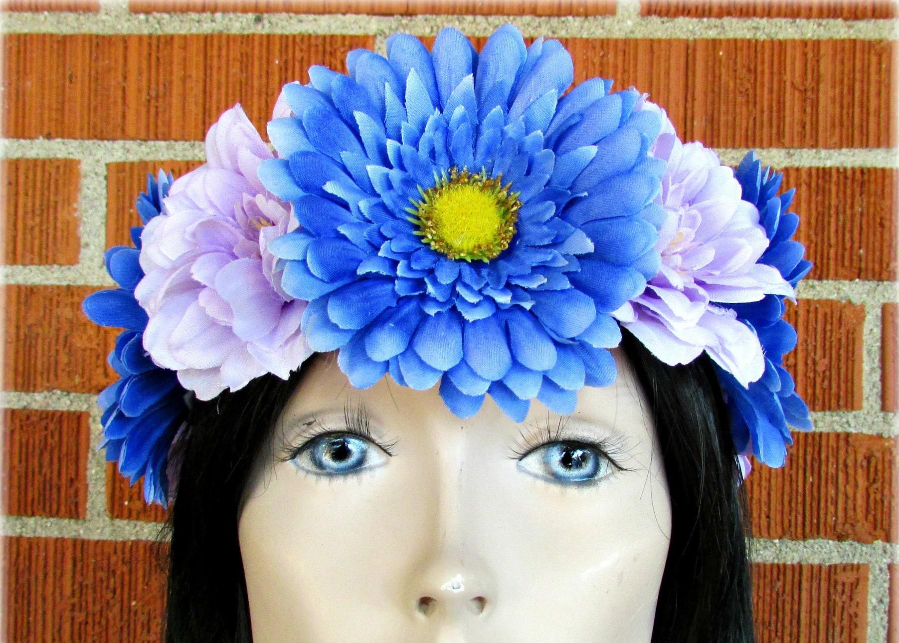 Blue purple flower crown floral crown flower halo flower blue purple flower crown floral crown flower halo flower headband floral headband adult flower crown kids flower crown wedding izmirmasajfo