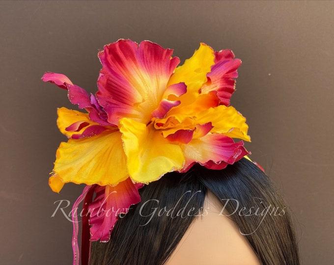 Yellow and Burgundy Flower Headband, Yellow Flower Crown, Fairy Crown, Floral Crown, Goddess Headpiece, Wedding, Tropical Headpiece