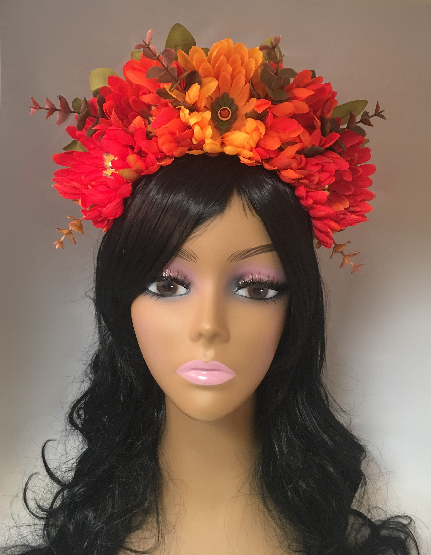 Fall Flower Crown Floral Crown Flower Headband Floral Headdress Fall Headband Day Of The Dead Halloween Festival Wedding