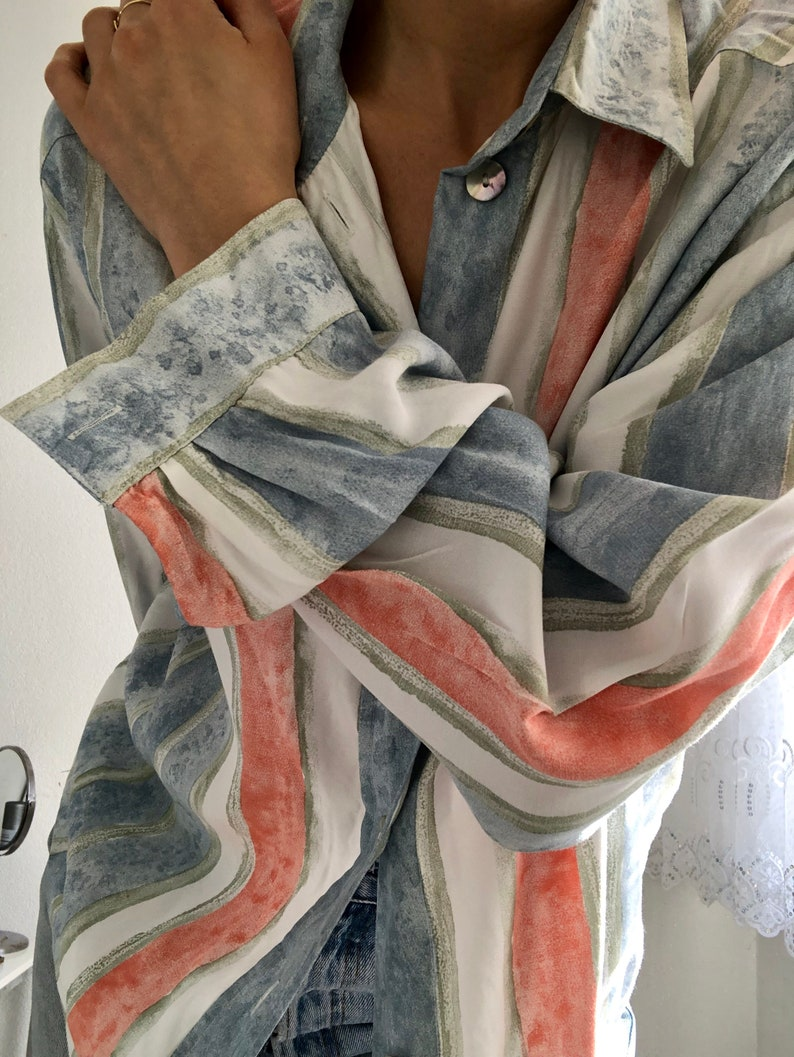 vintage pastel stripes watercolor printed blouse tshirt yessica polyester silky oversized spring colorful pattern