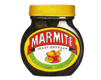Marmite Pen and Ink Illustration, British Institution, Love it or Hate it, Food Print, Kitchen Art, Marmite Gift.