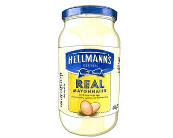 Hellmann's Mayonnaise Illustration, Mayonnaise Drawing, Kitchen Art, Foodie Gift, Food Print