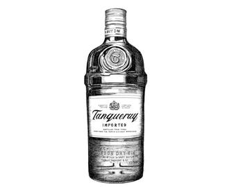 Tanqueray Gin Giclée Print, Gin illustration, Gin Lover's gift, Black and White drawing, Pen and Ink