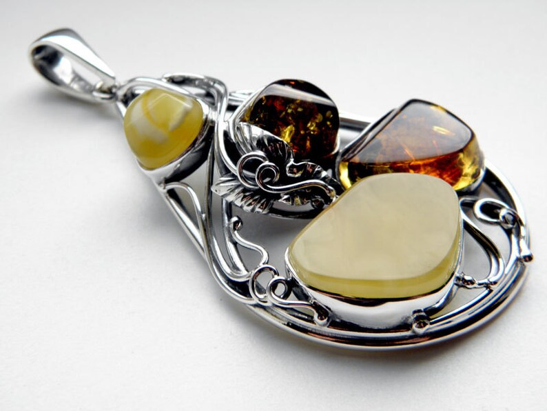 Silver Leaf Multicolor Many colours Baltic Amber Sterling Silver Pendant Yellow and Cognac Natural Amber