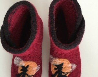 """Slippers boots """"witch"""", Walpurgis night, Halloween. With latex sole. Color freely selectable."""