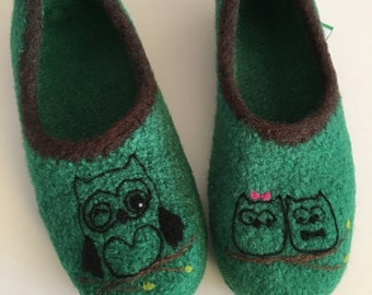 "Ballerinas ""OWL"" felt shoes"