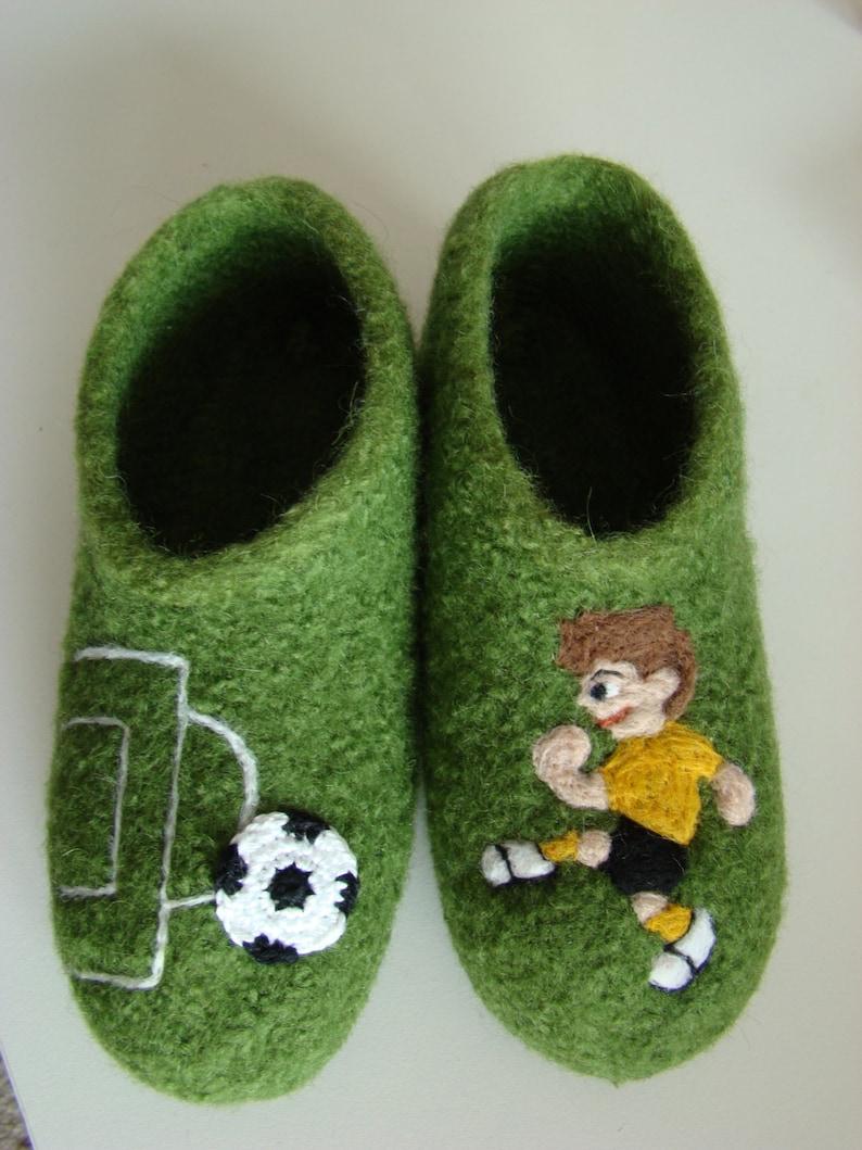 Kids Football Felt Shoes Slippers image 0
