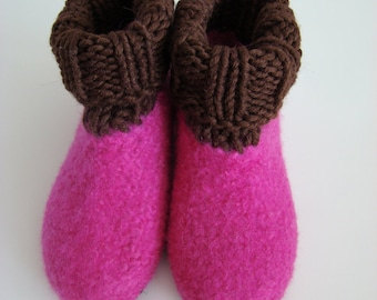 Children felt House shoes with crocheted shaft