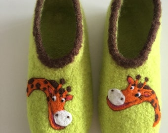 "Children felt House shoes ""Giraffe"""