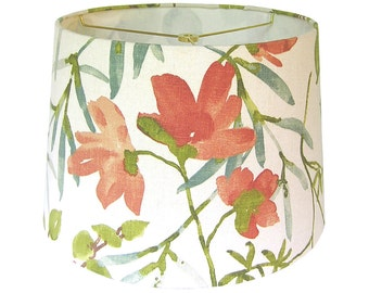 Floral lamp shades etsy custom lamp shade floral lampshade fabric lamp shade gazebo by braemore umber coral citrine green teal made to order aloadofball Image collections