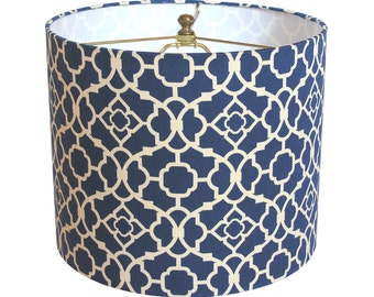 Lattice lamp shade etsy lamp shade lampshade lovely lattice by waverly lapis blue made to order aloadofball Images