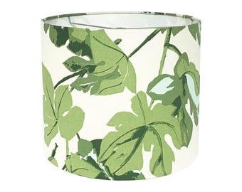 Green Lamp Shade - Custom Lamp Shade - Fig Leaf by Peter Dunham - Fig Leaf Shade - Fabric Lampshade - Table Lamp Shade -  Drum Lampshade