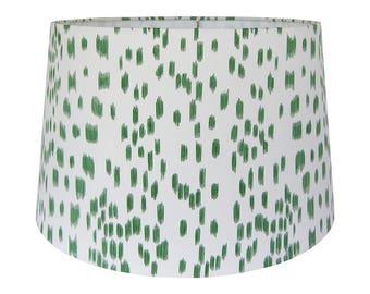 Print Lamp Shade, Custom Lampshade, Animal Print Lamp Shade Green, Les Touches Fabric Lamp Shade, Patterned Lamp Shade, Table Lampshade