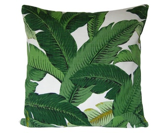 Custom Pillow Cover / INDOOR-OUTDOOR / Swaying Palms by Tommy Bahama in Aloe / Emerald Green Leaves / Both Sides / Made to Order