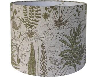 Botanical Lamp Shade, Print Lamp Shades, Green Lamp Shade Pair, Table Lamp Shades Custom, Fabric Lamp Shade Drum, Fern Lampshades Green