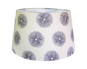 Linen Urchin Lamp Shades, Coastal Lamp Shade Drum, Table Lamp Shades Nautical, Custom Lamp Shade, Multiple Sizes, Black and Oatmeal
