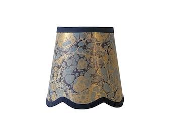 Indigo & Gold Stone Italian Marbled Paper Scalloped Sconce Shade