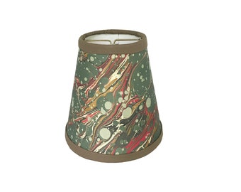 Green & Red Veined Italian Marbled Paper Sconce Shade