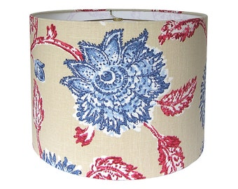 Custom Lamp Shade - Floral Lampshade - Agathe by Duralee Home  Red Blue - Fabric Lamp Shades - Drum Lamp Shades - Custom Lampshades