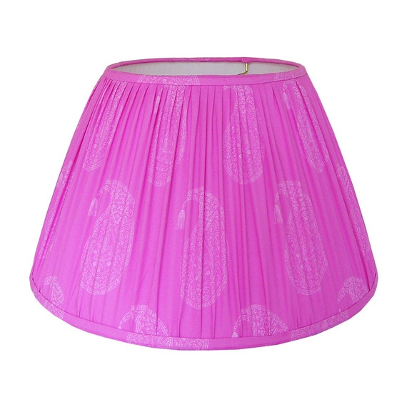 Gathered lamp shade fuschia lampshade block print lamp mozeypictures Gallery