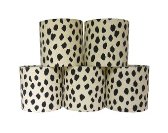 Custom Chandelier Shades - Sconce Clip-On Lamp Shade - Lampshade - Dalmatian Print Fabric - Beige Black Dots - Animal Print - Made to Order