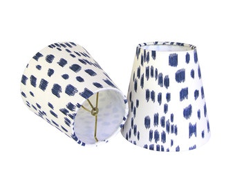 Custom Sconce Shades - Chandelier Shades - Les Touches Lampshades - Brunschwig & Fils - Animal Print Lamp Shades - Blue Sconce Shades