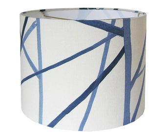 Custom Lamp Shade - Blue Lampshade - Channels Lamp Shades - Kelly Werstler - Groundworks Lee Jofa - Periwinkle Oat Lampshade - Made to Order