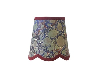 Sea Green, Blue & Brick Red Stone Italian Marbled Paper Scalloped Sconce Shade
