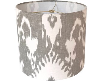 Gray Ikat Lamp Shade,  Linen Lampshade, Fabric Lamp Shades, Grey Lamp Shade, Table Lamp Shade, Custom Lamp Shades, Multiple Sizes