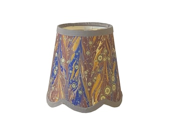 Burnt Mauve, Admiral Blue & Mustard Italian Marbled Paper Scalloped Sconce Shade