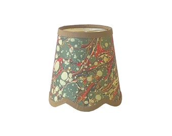 Green & Red Veined Italian Marbled Paper Scalloped Sconce Shade